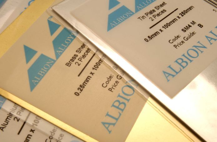 Albion Alloys - 100mm x 250mm Tin Plated Sheet 0.5mm Thick (2 pieces) # SM4M