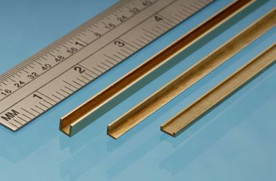 Albion Alloys - 305mm Brass C Channel 1mm x 1.5mm x 1mm (1 piece) # CC1