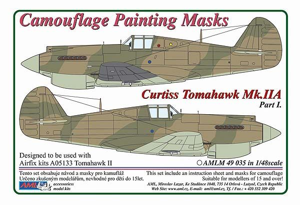 AML 1/48 Curtiss Tomahawk Mk.IIA Part I Camouflage Painting Masks # M4935