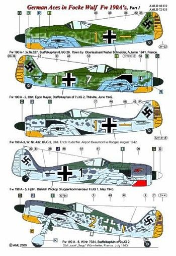 AML 1/48 German Aces in Focke Wulf Fw190A's Part I # D48032