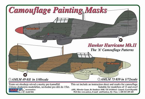 "AML 1/48 Hawker Hurricane Mk.II The ""A"" Camouflage Pattern Paint Mask # M4931"