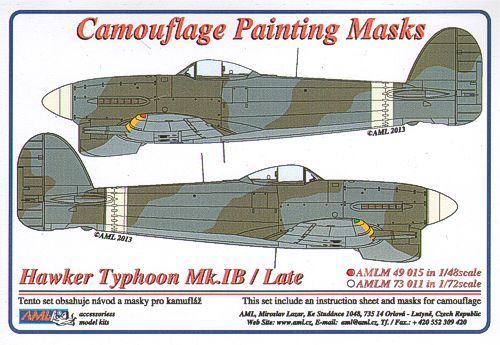 AML 1/48 Hawker Typhoon Mk.Ib/Late version Camouflage Paint Mask
