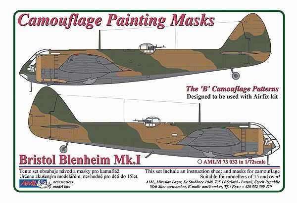 "AML 1/72 Bristol Blenheim Mk.I ""B"" Patterns Camouflage Painting Masks # M73032"