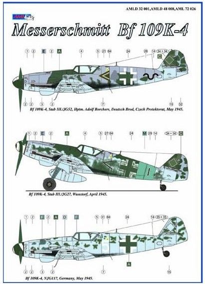 AML Decals 1/32 Messerschmitt Bf-109K-4 with Resin Wheels # D3201