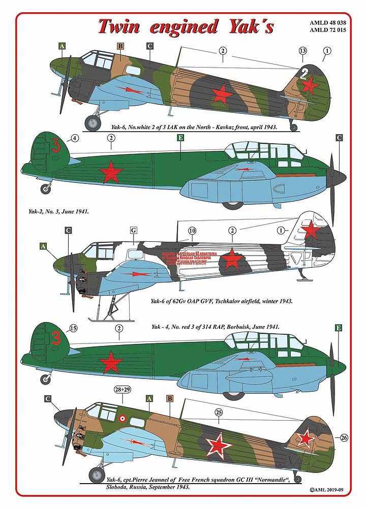 AML Decals 1/48 Twin Engined Yak's # D4838