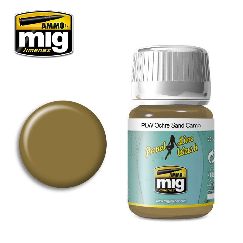 Ammo by Mig 35ml Ochre for Sand Camouflage Panel Line Wash # MIG-1622