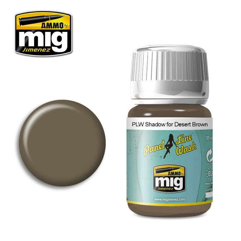 Ammo by Mig 35ml Shadow for Desert Brown Panel Line Wash # MIG-1621