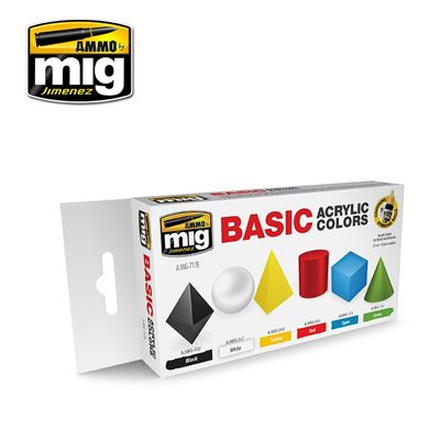 Ammo by Mig - Basic Acrylic Colors Acrylic Paint Set # MIG-7178