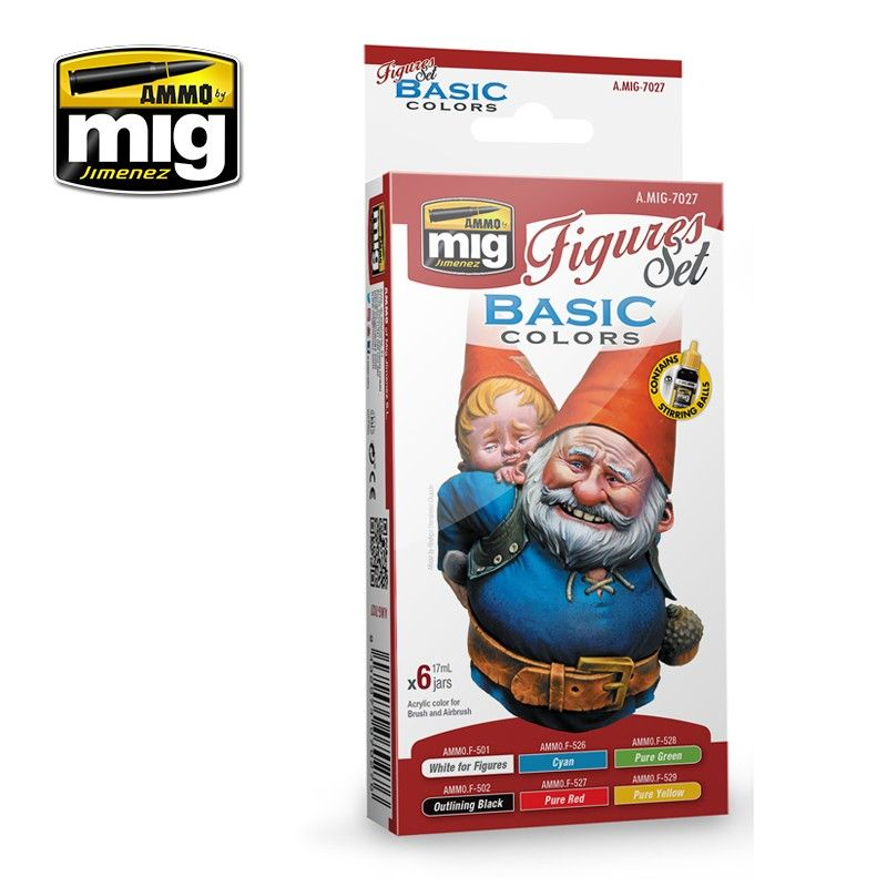 Ammo by Mig - Basic Colours for Figures Acrylic Paint Set # MIG-7027