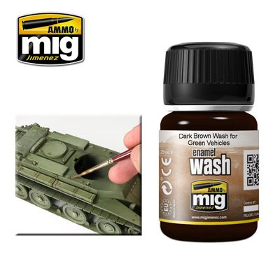Ammo by Mig - Dark Brown Wash for Green Vehicles # MIG-1005