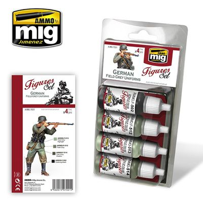 Ammo by Mig - German Field Grey Uniforms (Figures) Acrylic Paint Set # MIG-7021