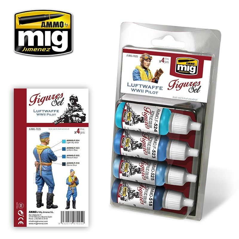 Ammo by Mig - Luftwaffe WWII Pilot (Figures) Acrylic Paint Set # MIG-7025