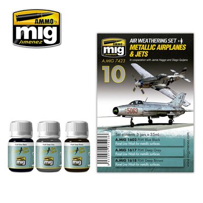 Ammo by Mig - Metallic Airplanes & Jets Weathering Set # MIG-7423