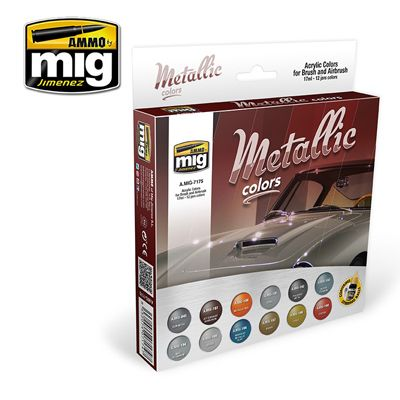 Ammo by Mig - Metallic Colors Acrylic Paint Set # MIG-7175