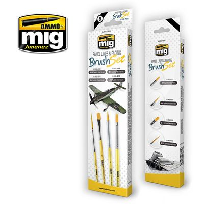 Ammo by Mig - Panel Lines & Fading Brush Set # MIG-7605