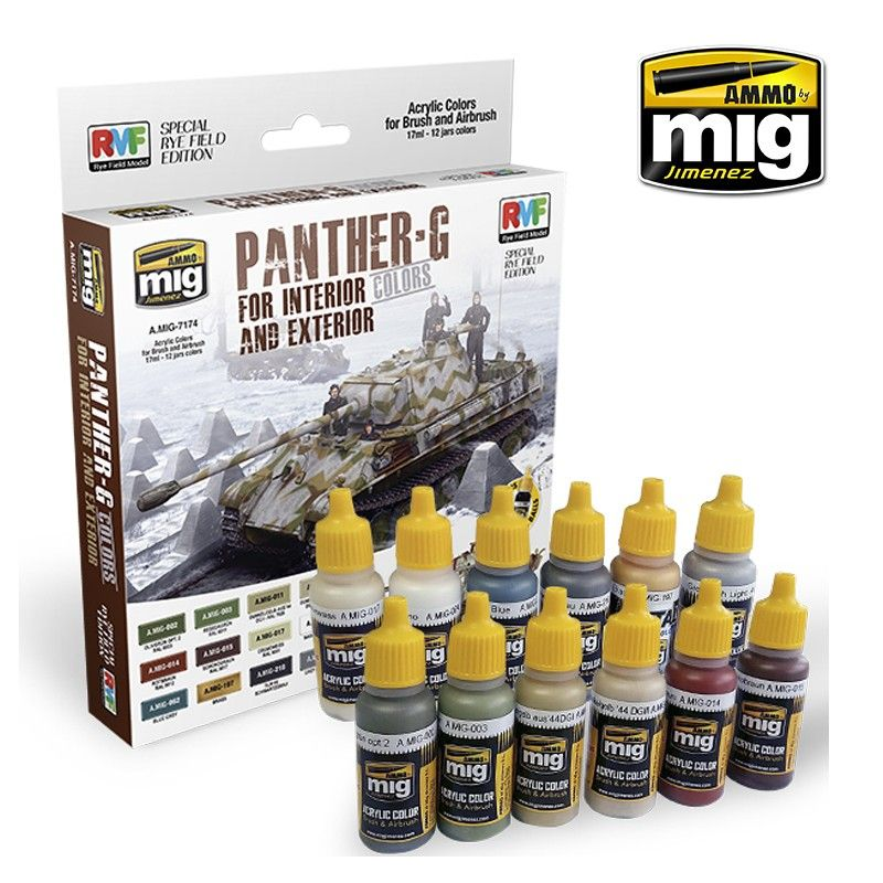 Ammo by Mig - Panther-G Colours for Interior & Exterior Acrylic Paint Set # MIG-7174