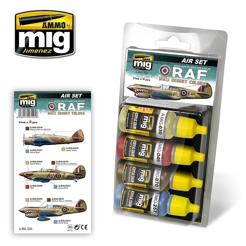 Ammo by Mig - RAF WWII Desert Colours Acrylic Paint Set # MIG-7225