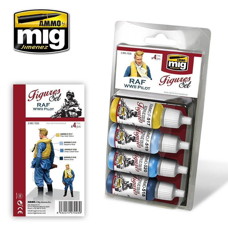 Ammo by Mig - RAF WWII Pilot Uniforms (Figures) Acrylic Paint Set # MIG-7026