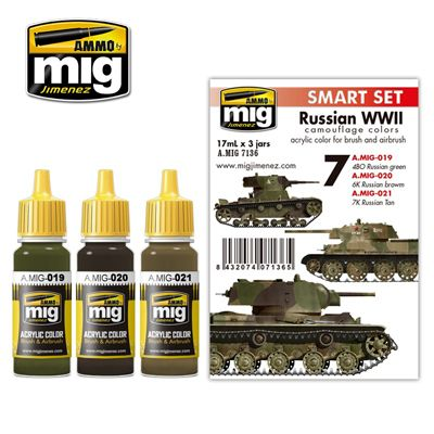 Ammo by Mig - Russian WWII Camouflage Colors Acrylic Paint Set # MIG-7136