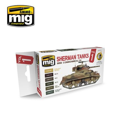 Ammo by Mig - Sherman Tanks WWII Commonwealth Vol.1 Acrylic Paint Set # MIG-7169