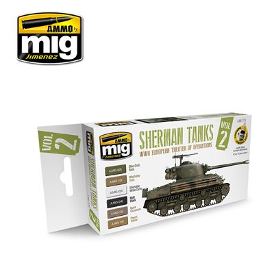 Ammo by Mig - Sherman Tanks WWII European Theatre of Operations Vol.2 Acrylic Paint Set # MIG-7170