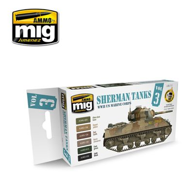Ammo by Mig - Sherman Tanks WWII US Marine Corps Vol.3 Acrylic Paint Set # MIG-7171