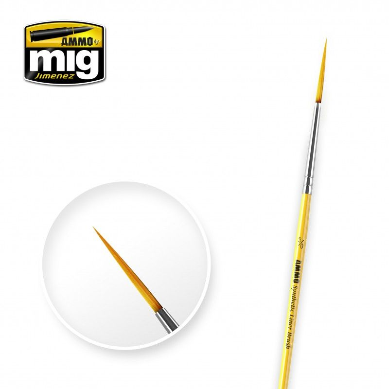 Ammo by Mig - Size 3/0 Synthetic Liner Brush # MIG-8590