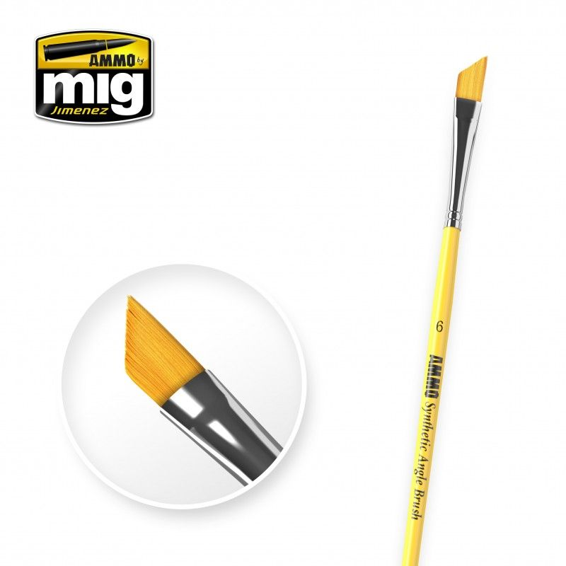 Ammo by Mig - Size 6 Synthetic Angle Brush # MIG-8607