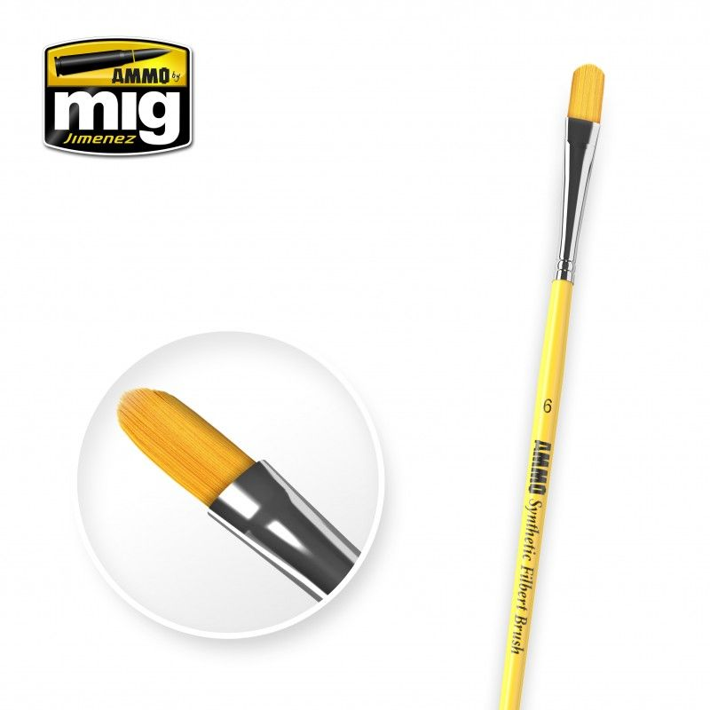 Ammo by Mig - Size 6 Synthetic Filbert Brush # MIG-8596
