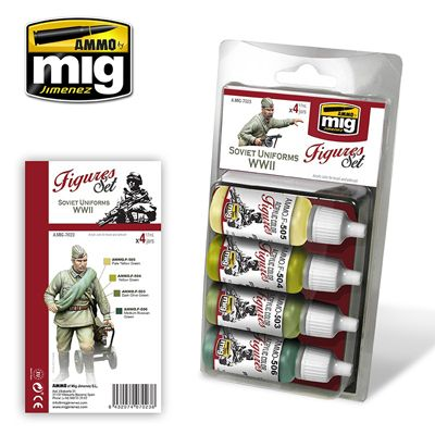 Ammo by Mig - Soviet Uniforms WWII (Figures) Acrylic Paint Set # MIG-7023