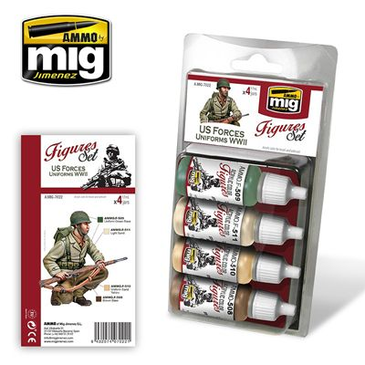 Ammo by Mig - U.S. Forces Uniforms WWII (Figures) Acrylic Paint Set # MIG-7022