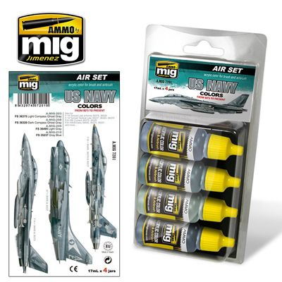 Ammo by Mig - US Navy Colors from 80's to Present Acrylic Paint Set # MIG-7201