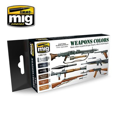 Ammo by Mig - Weapons Colors Acrylic Paint Set # MIG-7123