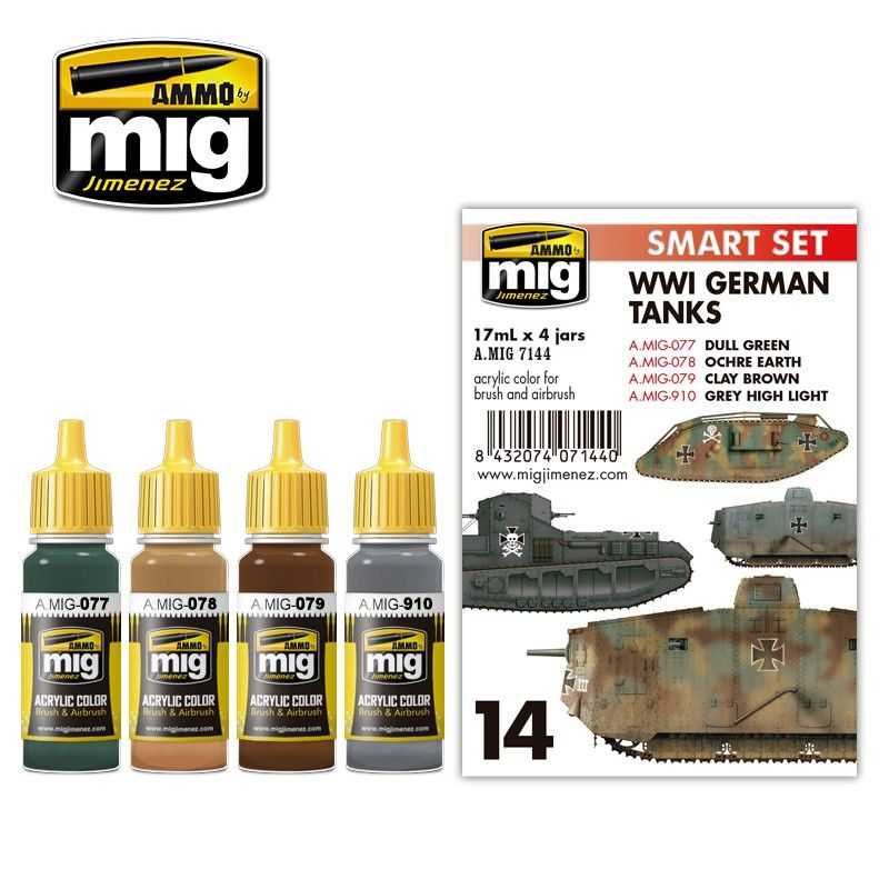 Ammo by Mig - WWI German Tanks Smart Acrylic Paint Set # MIG-7144