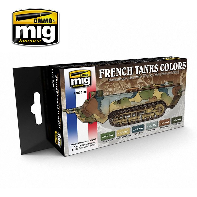 Ammo by Mig - WWI & WWII French Camouflage Colours Acrylic Paint Set # MIG-7110