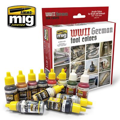 Ammo by Mig - WWII German Tool Colours Acrylic Paint Set # MIG-7179