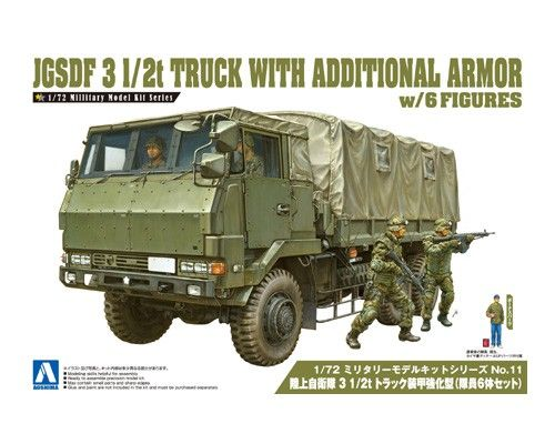 Aoshima 1/72 JGSDF 3 1/2t Truck with Additional Armor w/ 4 Figures No.11 # 012086
