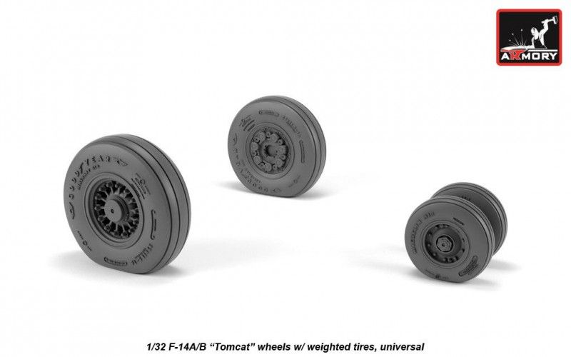 "Armory 1/32 Grumman F-14A/B ""Tomcat"" Wheels with Weighted Tires (Universal) # AW32309"