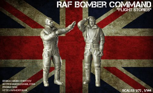 "Armory 1/72 ""Flight Stories"" WWII RAF Crewmen in High-Altitude Outfit (2 Resin  Figures) # 7224A"