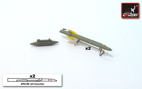 Armory 1/72 Kh-25MR (AS-10b 'Karen') + APU-68 Launcher Rail + Delta-NG2 Aiming Pod # 7244D
