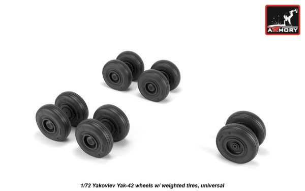 Armory 1/72 Yakovlev Yak-42D Wheels with Weighted Tires # 72061