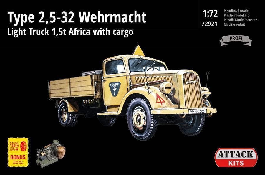 Attack 1/72 Opel Blitz Type 2,5-32 Wehrmacht 1,5t Light Truck with Cargo 'Africa' # 72921