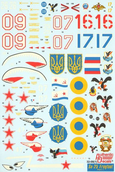 Authentic Decals 1/32 Sukhoi Su-25 Frogfoot Part 1 # 3208