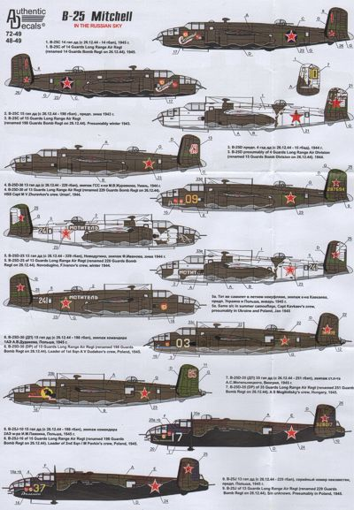 Authentic Decals 1/48 B-25 Mitchell in the Russian Sky # 4849