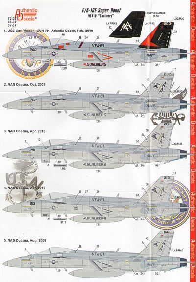 Authentic Decals 1/48 F/A-18E Super Hornet VFA-81 Sunliners # 48