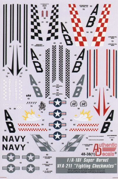 Authentic Decals 1/48 F/A-18F Super Hornet VFA-211 Fighting Chec