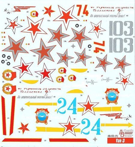 Authentic Decals 1/48 Yakovlev Yak-3 # 4853