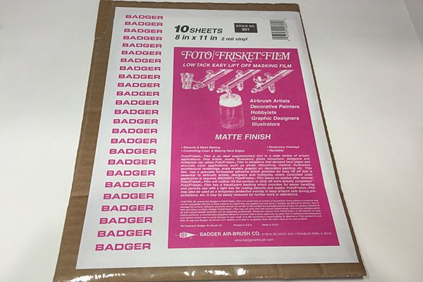 "Badger - Foto Frisket Film Matte Finish 8"" x 11"" (10 Sheets) # BA601"