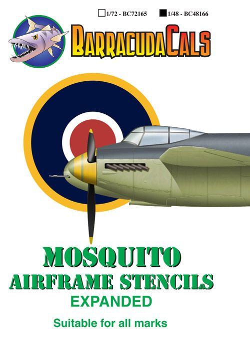 Barracuda 1/48 Mosquito Airframe Stencils - Expanded # 48166