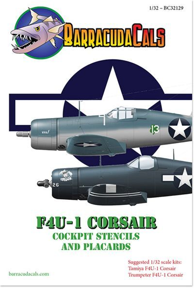 Barracuda Decals 1/32 Vought F4U-1 Corsair Cockpit Stencils & Placards # 32129